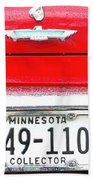 Ford With Minnesota Licence Plate Beach Towel