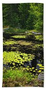 Forest Lake With Lily Pads Beach Towel
