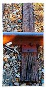 Forgotten - Abandoned Shoe On Railroad Tracks Beach Towel