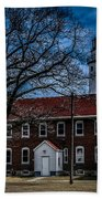 Fort Gratiot Lighthouse And Buildings With Clouds Beach Towel