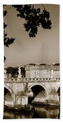 Fortress And Bridge In Sepia Beach Towel