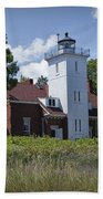 Forty Mile Point Lighthouse In Michigan Number 450 Beach Towel