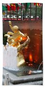 Fountain And Prometheus - Rockefeller Center Beach Towel