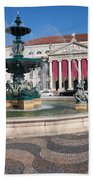 Fountain And Theater On Rossio Square In Lisbon Beach Towel