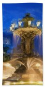 Fountain At Dusk Beach Towel