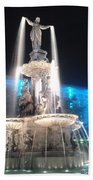 Fountain Square At Night Beach Towel