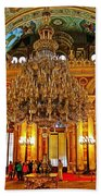 Four And One-half Ton Crystal Chandelier In Ceremonial Hall In Dolmabache Palace In Istanbul-turkey  Beach Towel