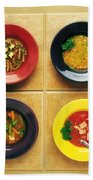 Four Dishes Of Different Food Beach Towel