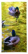 Four Ducks On Pond Beach Towel