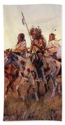 Four Mounted Indians Beach Towel