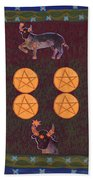 Four Of Pentacles Beach Towel