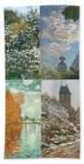 Four Seasons A Collage Of Monets Beach Towel