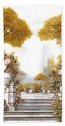four seasons-autumn on lake Maggiore Beach Towel by Guido Borelli