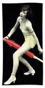 Fourth Of July Rocket Girl Beach Towel by Underwood Archives