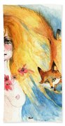 Fox Girl Beach Towel