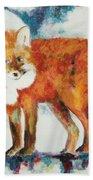 Fox In The Moon Beach Towel