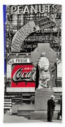 Fr. Duffy Statue Prior To Unveiling Coca Cola Sign Times Square New York City 1937-2014 Beach Towel