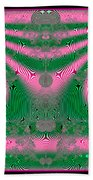 Fractal 34 Kimono In Pink And Green Beach Towel