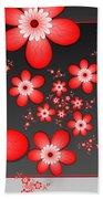 Fractal Cheerful Red Flowers Beach Towel