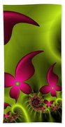 Fractal Fluorescent Fantasy Flowers Beach Towel