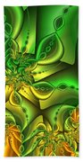 Fractal Gold And Green Together Beach Towel