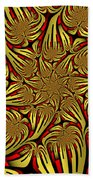 Fractal Golden And Red Beach Towel