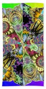 Fractal Lotus Zodiac Beach Towel