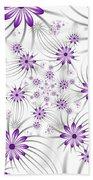 Fractal Purple Flowers Beach Towel