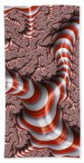 Fractal Red And White Beach Towel