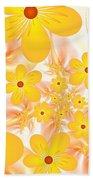 Fractal Yellow Flowers Beach Towel