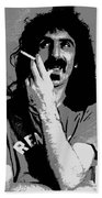Frank Zappa - Chalk And Charcoal Beach Towel by Joann Vitali