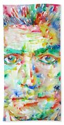 Franz Kafka Watercolor Portrait Beach Towel by Fabrizio Cassetta