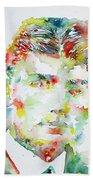 Franz Kafka Watercolor Portrait.2 Beach Towel by Fabrizio Cassetta
