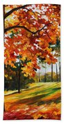 Freedom Of Autumn - Palette Knife Oil Painting On Canvas By Leonid Afremov Beach Towel