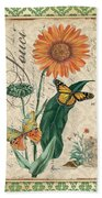 French Botanical Damask-a Beach Towel