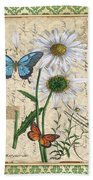 French Botanical Damask-d Beach Towel
