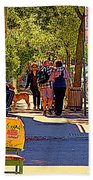 French Bread On Laurier Street Montreal Cafe Scene Sunny Corner With Vente De Garage Sign Beach Towel