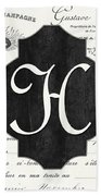French Champagne Monogram Beach Towel