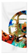 French Horn - Colorful Music By Sharon Cummings Beach Towel