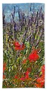 French Lavender Field Beach Towel