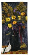 French Marigold Purple Daisies And Golden Sheaves Beach Towel