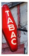 French Tobacconist Sign Beach Towel