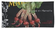 French Veggie Labels 2 Beach Towel
