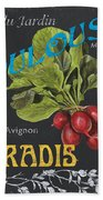 French Veggie Labels 3 Beach Towel