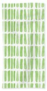 Fresh Grass- Abstract Pattern Painting Beach Towel by Linda Woods