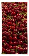 Fresh Red Cherries Beach Towel