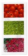 Fresh Vegetable Triptych Beach Sheet