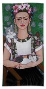 Frida Cat Lover  Beach Towel