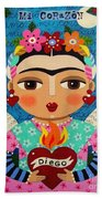 Frida Kahlo Angel And Flaming Heart Beach Towel