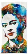 Frida Kahlo Art - Viva La Frida - By Sharon Cummings Beach Towel